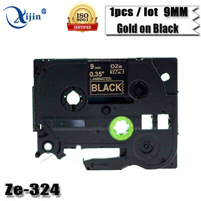 TZ 324 TZe-324 Gold on Black P-Touch Label Tape Compatible Brother laminated 9mm