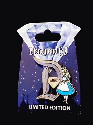 Disney Disneyland Diamond 60th Alice in Wonderland Diamond D Alice Pin LE3000