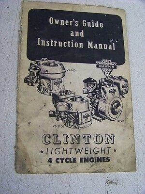 Clinton Lightweight 4 cycle Engine Owner's Guide Instruction Manual VS100 VS2100