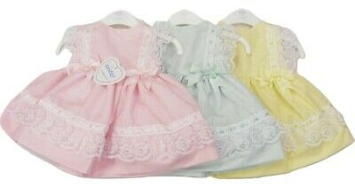 Stunning Baby Girls Spanish Style Ribbon Slot Lace Pastel Bows Dress *Small Fit