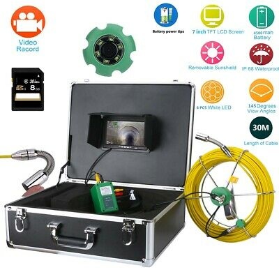 "HD 30M Sewer Waterproof Camera Pipe Pipeline Drain Inspection System 7""LCD DVR"