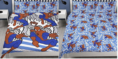 Spiderman Popart Reversible - Double Duvet Cover & Pillow Case Bed Bedding Set