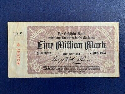 Germany -  1 Million Mark  Banknote 1923- Mannheim -Inflation - Very Fine