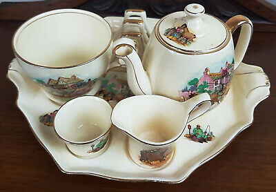 Vintage Royal Winton Grimwades Complete Old English Coaching Days Breakfast Set