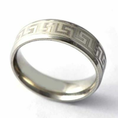 Greek Key Ancient Meander Stainless Steel Silver Plated Top Quality Ring