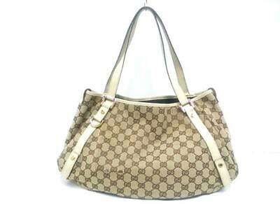 98a8d3ebfc5 AUTH GUCCI GG 293578 DarkBrown Jacquard Leather Tote Bag -  321.00 ...
