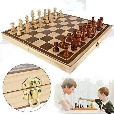 Large Folding Wooden Chess Set High Quality Standard Chess Travel Board Game UK