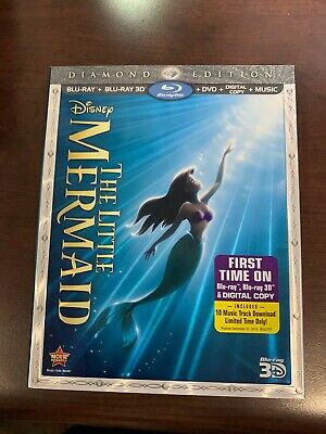 Disney's The Little Mermaid (1989) Diamond Edition Blu-Ray 3D Blu-Ray Disc DVD