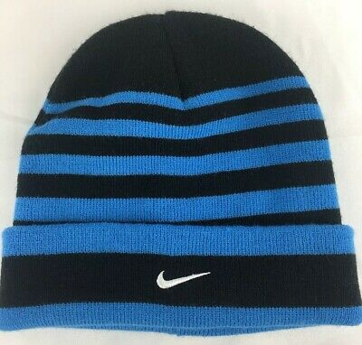 e025e2583a4 Nike Striped Hat Beanie Black blue Hat Winter Ski One Size Youth Boys Size 8