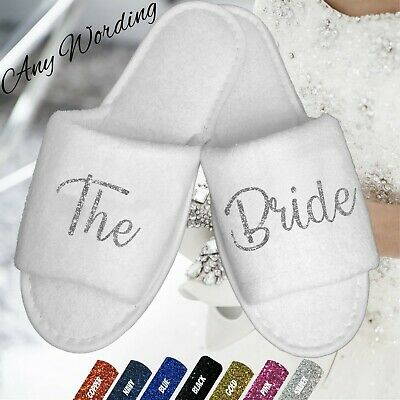 White Wedding Slippers Personalised Glitter Novelty Bridal Spa Open Toe Shoes