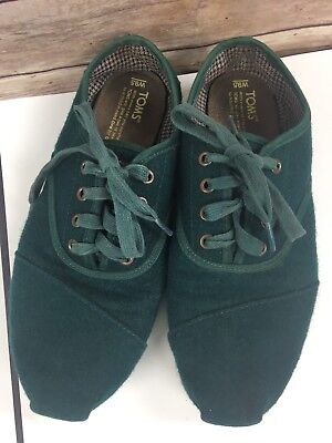 d7028aee91d7 TOMS CORDONES WOOL Green Womens 9.5 Lace Up Sneakers Shoes -  25.16 ...