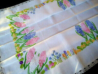 Fabulous Hyacinth/Prim Rose/Crocus ~Vintage Hand Embroidered Lge Tablecloth 43+""