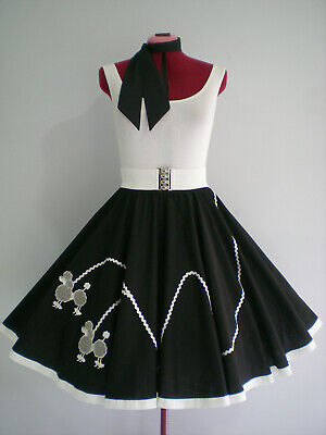 "ROCK N ROLL/ROCKABILLY  ""POODLE"" SKIRT-SCARF S-M Black/Silver/Grey"