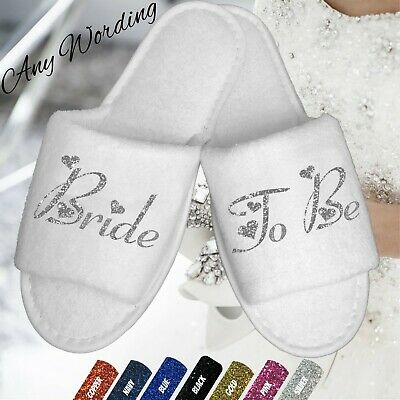 Bride Bridesmaid Wedding Bridal White Slippers Hearts Script Bridal Party Dance