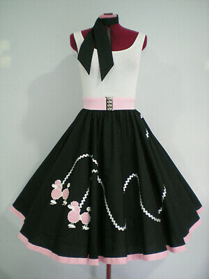 "ROCK N ROLL/ROCKABILLY  ""POODLE"" SKIRT-SCARF L-XL Black/Pink/Silver"