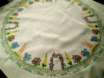 Outstanding Rose Arch/Cottage Garden Circle ~Vintage Hand Embroidered Tablecloth