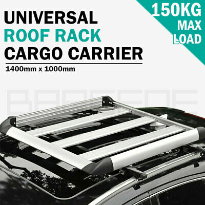 1.4M Aluminium Alloy Car 4WD 4x4 Roof Rack Basket Cargo Luggage Carrier Box Bars