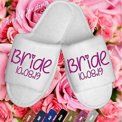 Bride Bridesmaid Wedding Bridal White Spa Slippers Glitter Heart Dancing Shoes