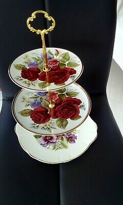 gorgeous bright floral  one off  mix/match 3 tier cake stand (limoges + duchess)