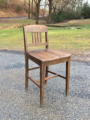 Antique VTG Sikes Co General Store Counter Stool Drafting Chair Slanted Seat