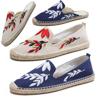 Womens Slip On Canvas Espadrilles Flats Mules Sandals Casual Pumps Summer Shoes