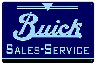 Blue Buick Sales And Service Gas Station Sign 12X18