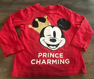 BABY GAP Disney Mickey Mouse Prince Charming Red Long Sleeve Shirt Size 3T EUC