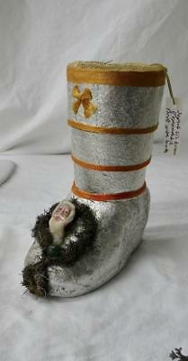 German Santa Boot Dresden Sebnitz Collapsible Candy Container Ornament Christmas