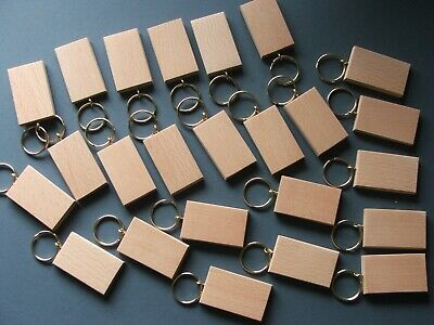 50mmx30mm BEECH KEYRING BLANKS,PYROGRAPHY,ENGRAVINGetc.24 FOR £17.75 inc post