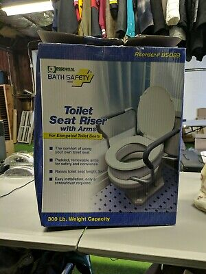 Essential Medical Supply Elevated Toilet Seat with Side Arms Elongated Oval Seat