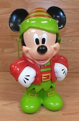Genuine Disney Elf Style Mickey Mouse Christmas Popcorn Bucket With Lid & Handle