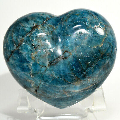 72mm Neon Blue Apatite Puffy Heart Sparkling Natural Quartz Mineral - Madagascar