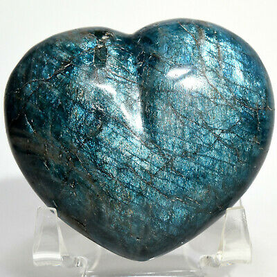 "2.75"" Rich Blue Apatite Puffy Heart Natural Sparkling Quartz Crystal Madagascar"