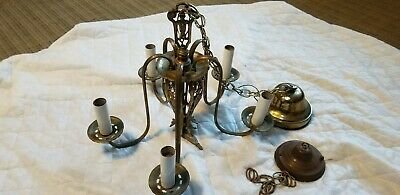 Vintage 5 Ornate Arm Light Antique French Spanish Brass  Metal Chandelier 20""
