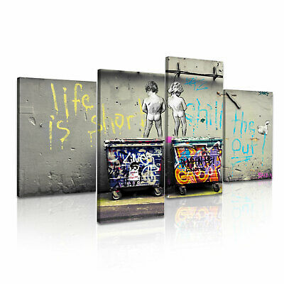 Banksy Life is Short Chill the Duck Out Stretched Canvas ~ 4 Panels