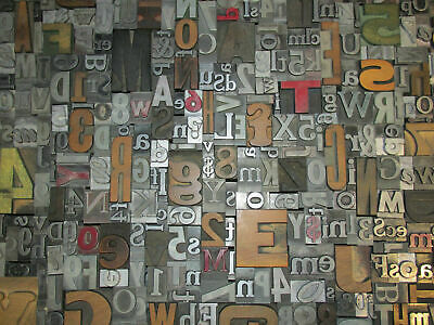 Lot Of 50 Vtg Wood Metal Letterpress Print Type Blocks Alphabet Letters Numbers