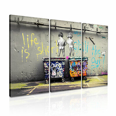Banksy Life is Short Chill the Duck Out Stretched Canvas ~ 3 Panels