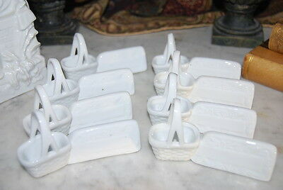Magnificent Vintage Set Eight Salts & Name Place Holders Done In White Porcelain