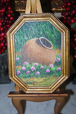 Wonderful Small Original Oil Painting Jar Flowers By M. Howland On Gilded Frame