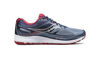 Saucony Guide 10 Wide Fit Mens Shoes Grey/Navy/Red