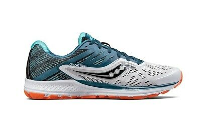 Saucony Ride 10 Wide Fit Mens Shoes White/Teal/Orange
