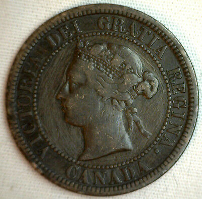 1876 Copper Copper Canadian Large Cent One Cent Coin Fine #2