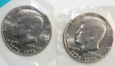 1976 P and D Kennedy Half Dollar Coin from US Mint Set 2 BU 50 Cent Cello Halves