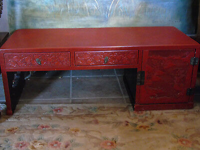Rare Antique Cinnabar Lacquer Intricate Hand Paint Over Wood Carved Coffe Table