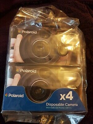 4 x Polaroid Disposable Cameras with Flash 35mm Film Weddings Parties