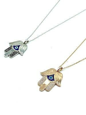 925 Sterling Silver  Hamsa Hand Lucky Eye Pendant Necklaces #9684