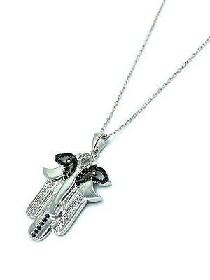 925 Sterling Silver  Hamsa Hand Lucky Eye Pendant Necklaces #9691