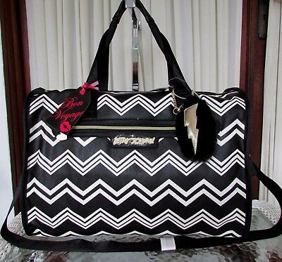 Betsey Johnson Chevron Weekender Luggage Travel Bag NWT