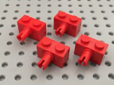 RED x 10 BRICK MODIFIED 1 x 2 with Pin 2458 BM116 LEGO