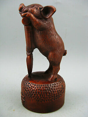 Antique Old Chinese Boxwood Hand carved Diligent Pig Calligraphy Netsuke Statue